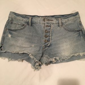 Denim High Waisted Button Fly Shorts